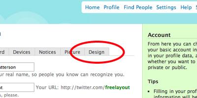 Clique sobre o menu Design no seu Twitter
