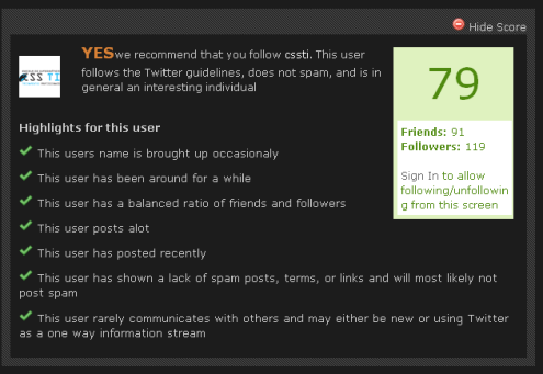 TwitChuck - como evitar seguir spammers
