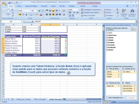 Alterando dados da Tabela Dinamica 1