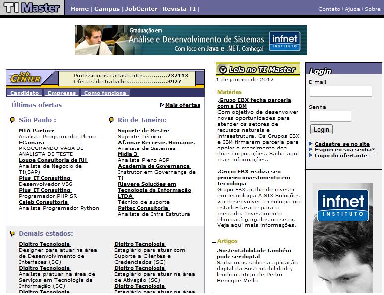 Site especializado em de TI TI Master