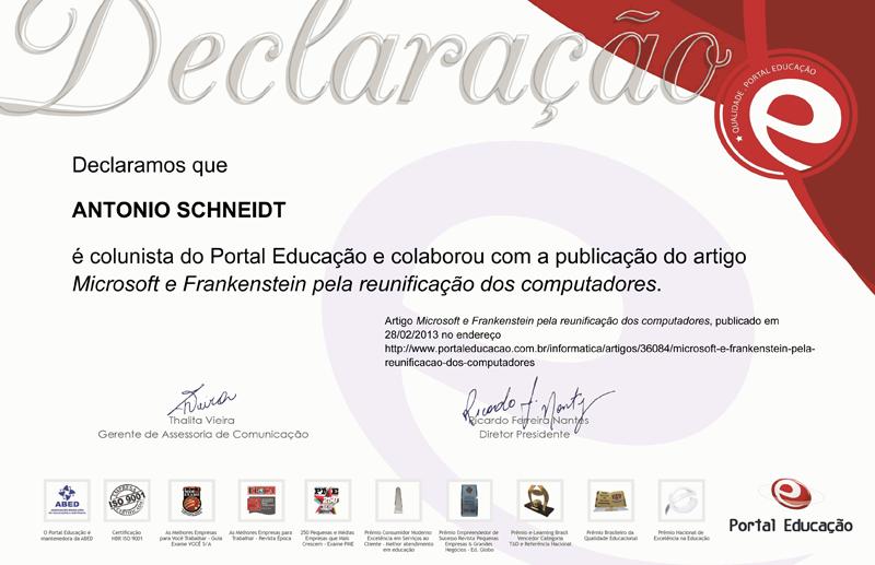 Certificado de Colunista